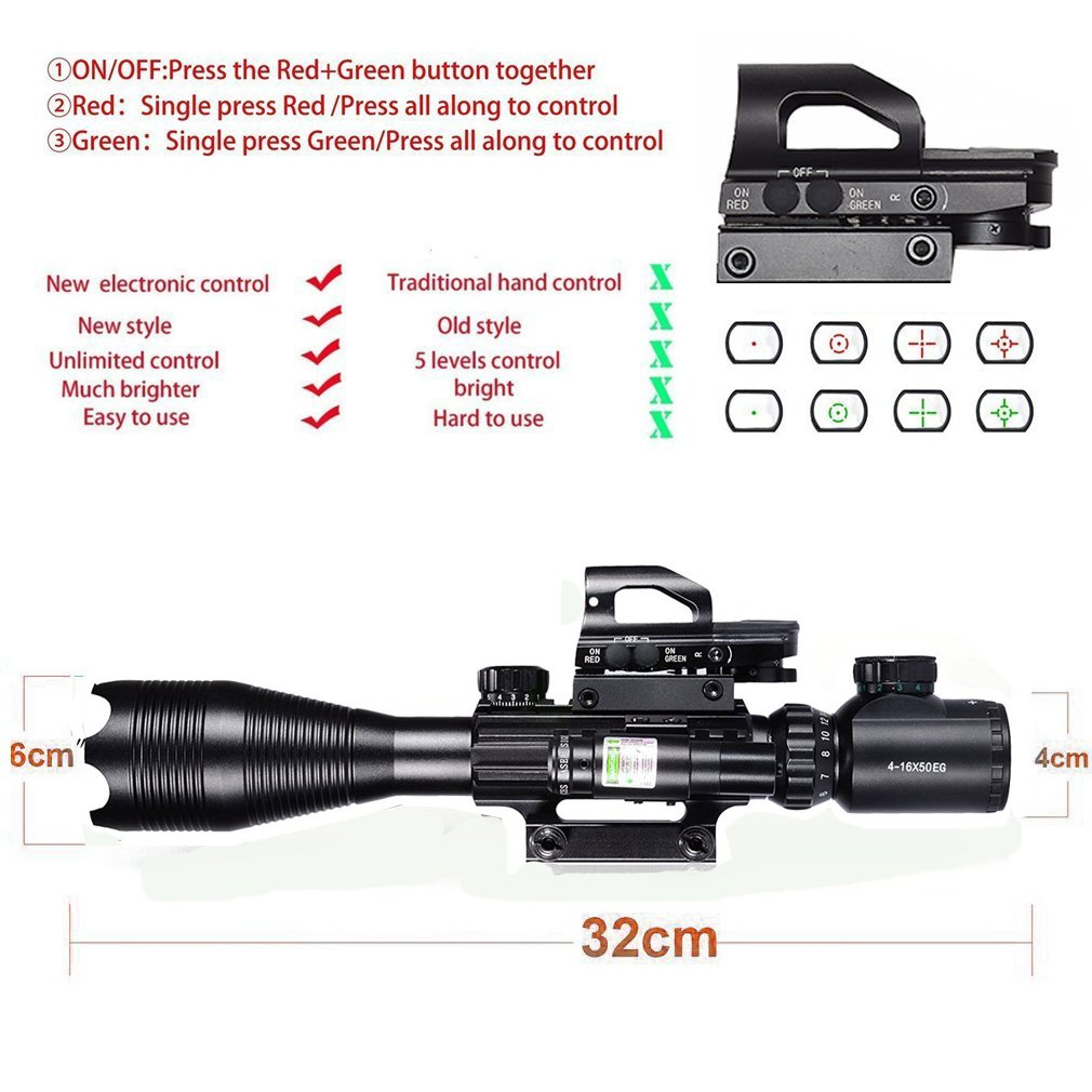 Hunting Rifle Scope Combo C4-16x50EG Dual Illuminated with Green Laser sight and 4 Holographic Reticle Red/Green Dot
