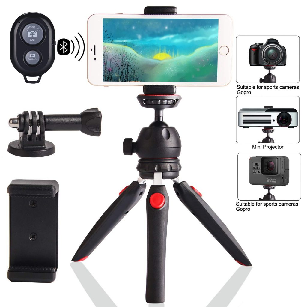 Regetek Camera Tripod with Wireless Remote, Phone GoPro Mount,Mini Tabletop Travel vlogging Tripod Stand for Phone Webcam,GoPro Action Cam/DSLR Canon Nikon Sony